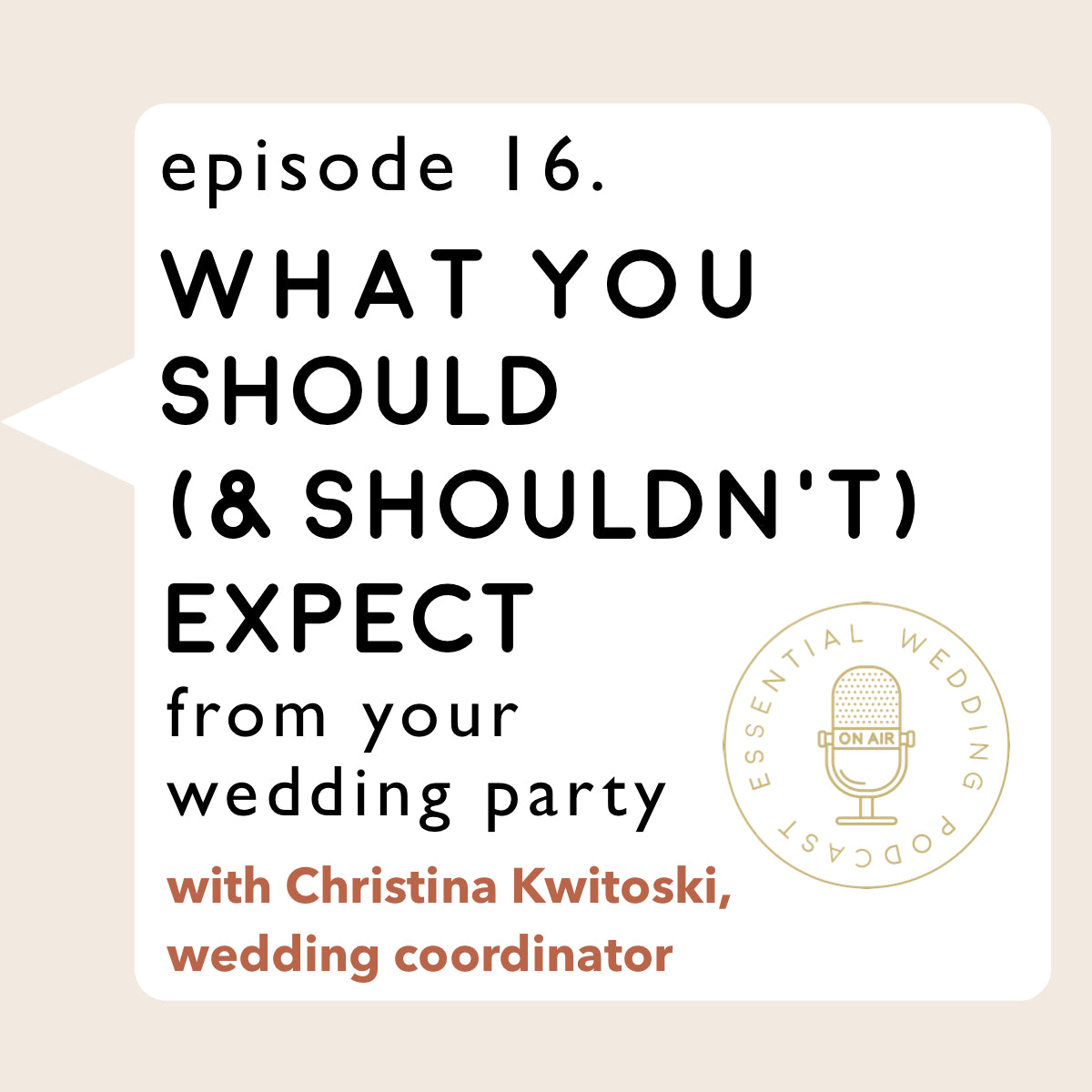 Ep. 16 What You Should & Should Not Expect from Your Wedding Party w/ Christina Kwitoski