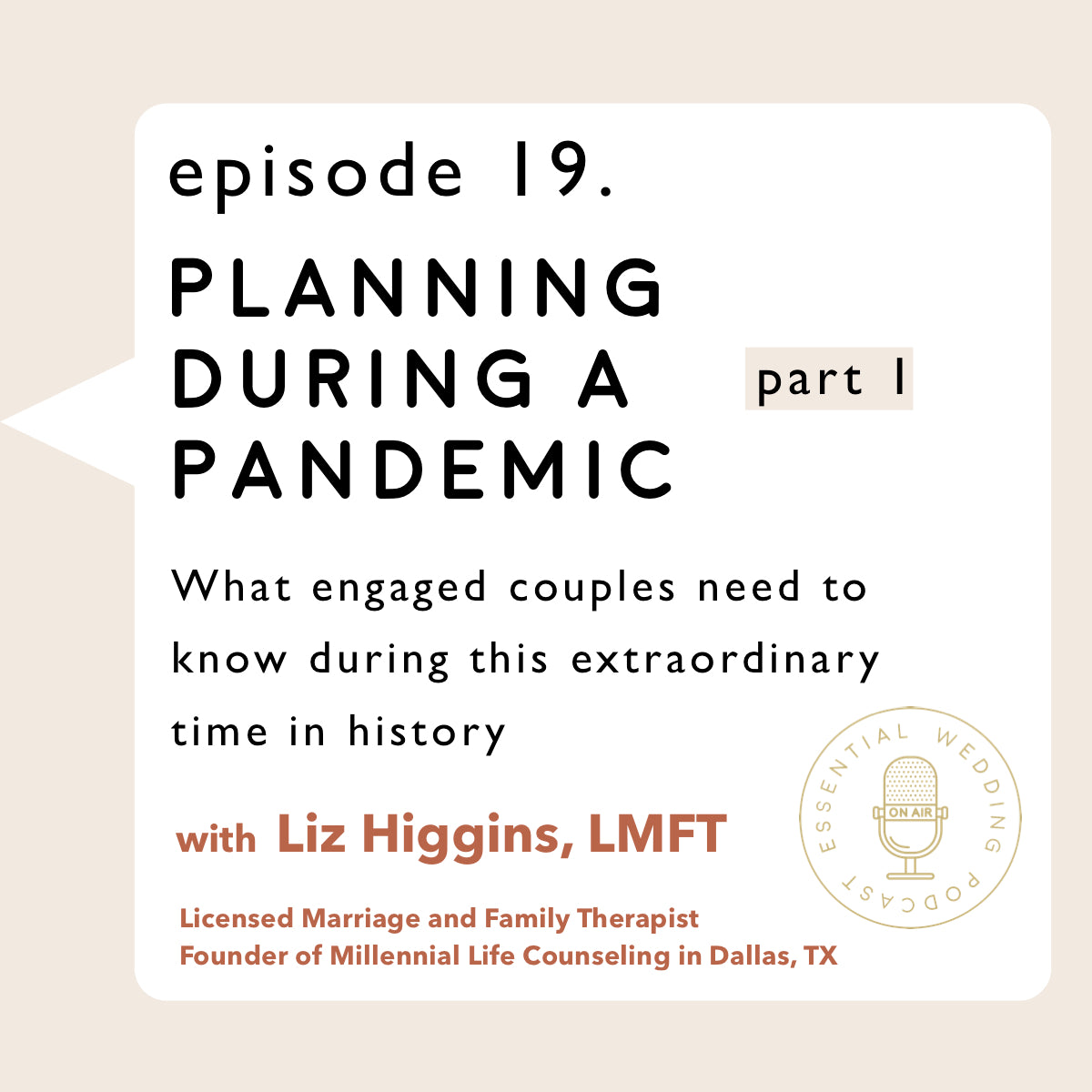 Ep. 19 Planning During a Pandemic pt. 1 w/ Liz Higgins, Licensed Marriage and Family Therapist and Founder of Millennial Life Counseling