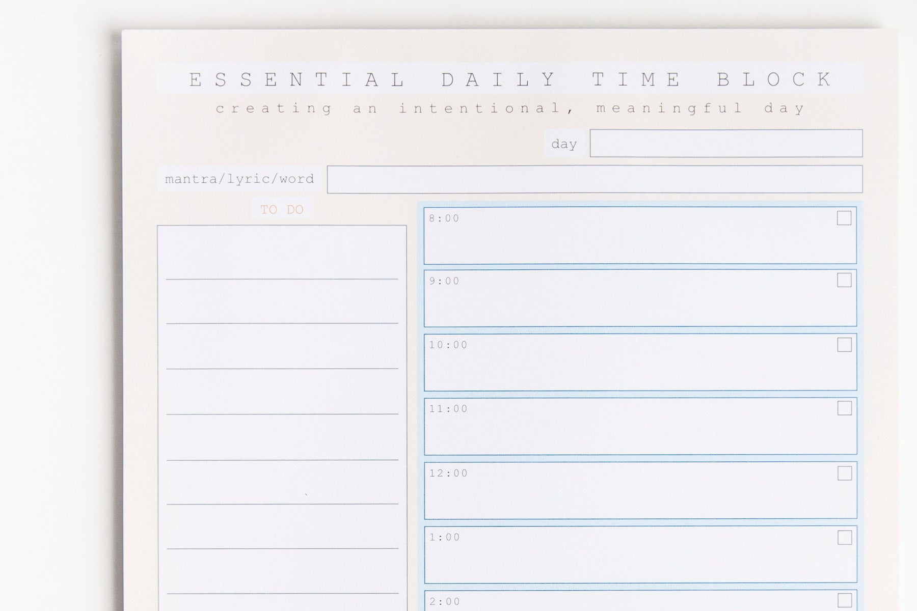 Essential Daily Time Block (Notepad)