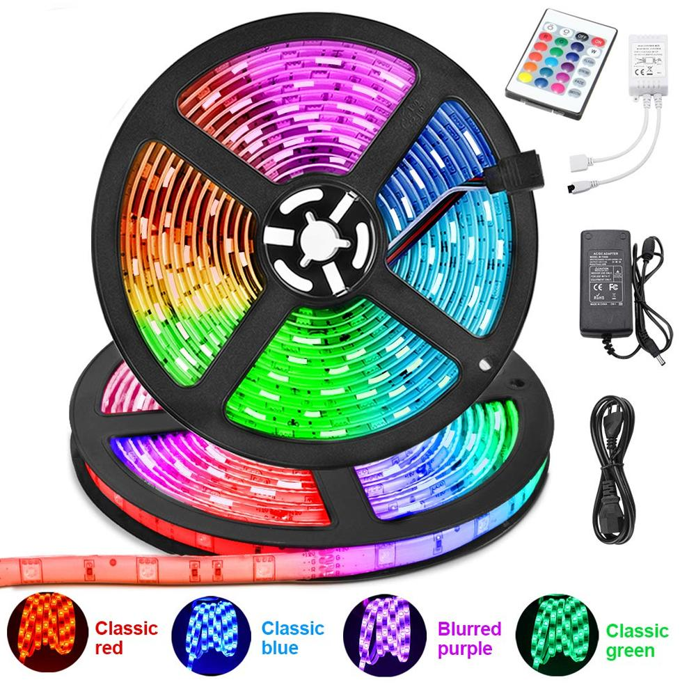 242 RGB Remote Control LED Strip Light- 16 Colors Changing, Waterproof (5-Meter)