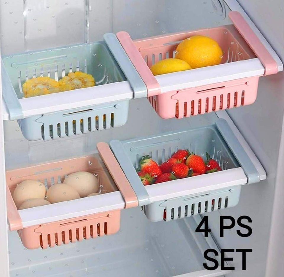 113 Adjustable Fridge Storage Basket, Fridge Racks Tray Sliding Storage Racks (Set Of 4)