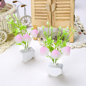 206 Night Lamps White Flower Pot Color Changing Light & Mushrooms Light Sensor LED Decorative Night Lamp Night Lamp