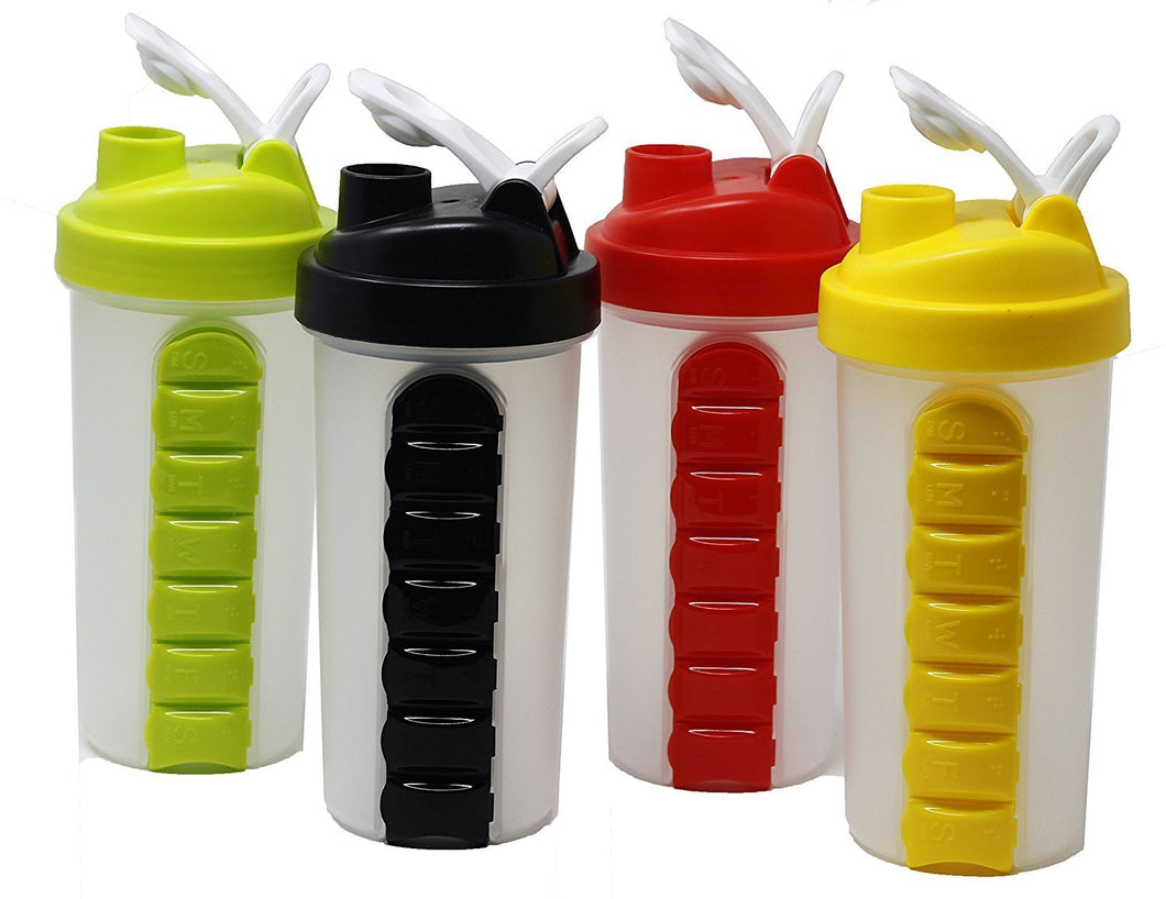 346 Pill Box Organizer Weekly Seven Compartments with Drinking Bottle (600ml)