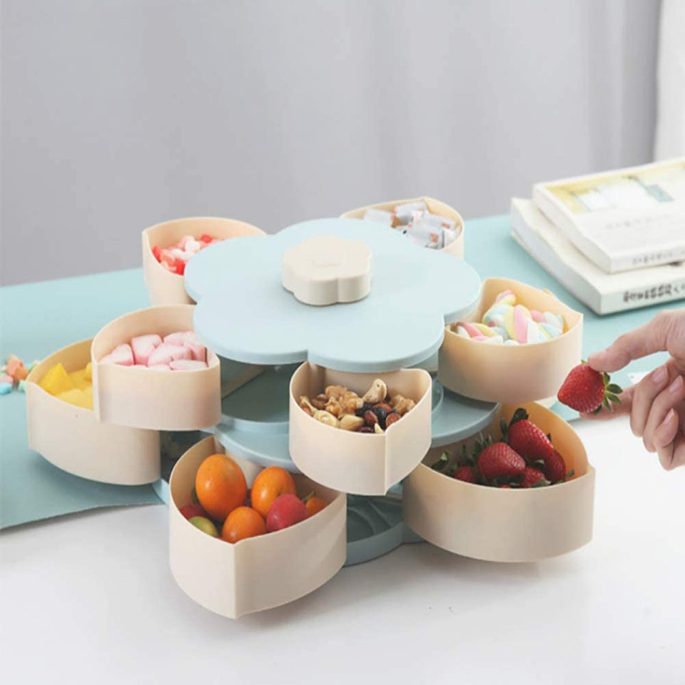 2 Layer Flower Rotating Candy Box with Phone Holder