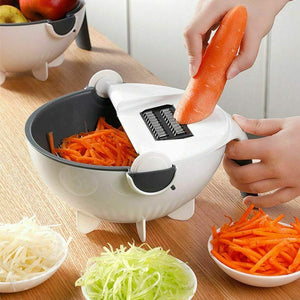 Multifunctional Vegetable Cutter with Drain Basket Magic Rotate Vegetable Cutter Portable Slicer Chopper Grater Kitchen Tool