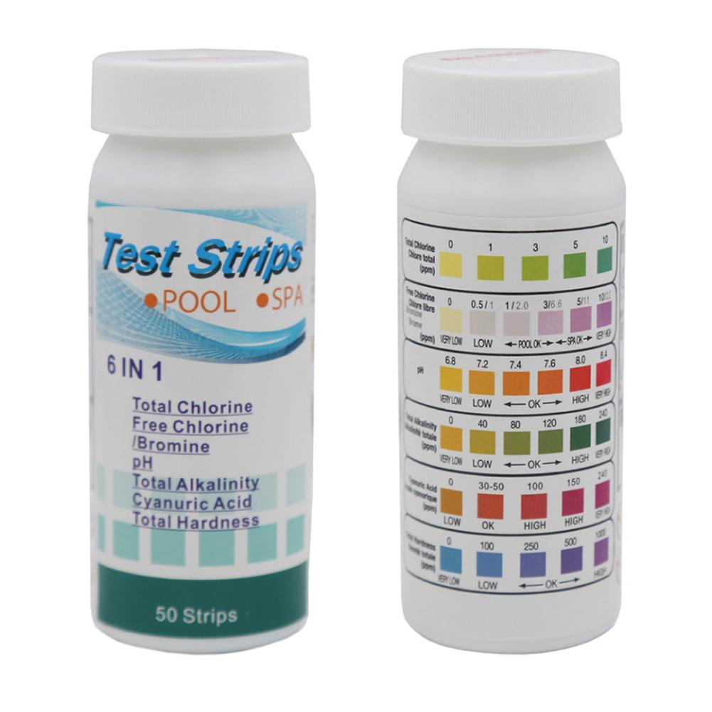 6 In 1 Swimming Pool and Spa Water Chemistry Test Strips