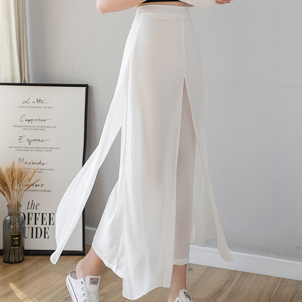 Ice Silk Chiffon Wide-Leg Pants