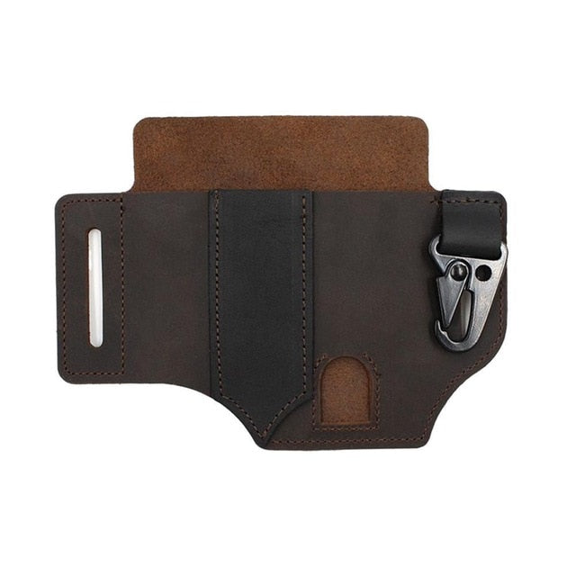Men EDC Genuine Leather Multitool Flashlight Key Pen Organizer Gear Waist Belt Bag
