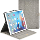 Roocase Leather Slim Fit Case for iPad Pro 12.9 2017/2015 (1st/2nd Gen) - Folio Smart Cover - Apple Pencil Loop - Viewing Stand