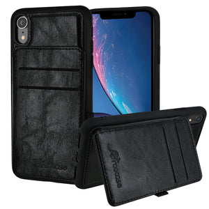 Roocase iPhone XR Wallet Case - Card Holder - Kickstand - Black