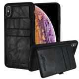 Roocase iPhone XS Max Wallet Case - Card Holder - Kickstand - Black