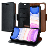 iPhone 11 Pro Leather Wallet Case - Detachable Magnetic Case - Card Holder - Black