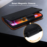 iPhone 11 Leather Wallet Case - Detachable Magnetic Case - Card Holder - Black