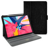 Roocase Leather Slim Fit Case for iPad Pro 11 2018 - Folio Smart Cover - Apple Pencil Loop - Viewing Stand