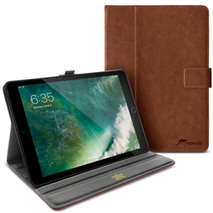 Roocase Leather Slim Fit Case for iPad 9.7 2018/2017 - Folio Smart Cover - Apple Pencil Loop - Viewing Stand