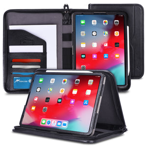 rooCASE iPad Pro 11 Case 2018, Premium Executive Portfolio Leather Case, Detachable Sleeve, Document Organizer for Apple iPad Pro 11-inch 2018 3rd Generation, Black [Support Apple Pencil Charging]