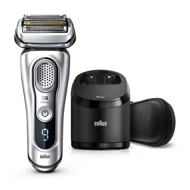 Braun Series 9 9390cc Shaver with Clean & Charge station and leather travel case, silver
