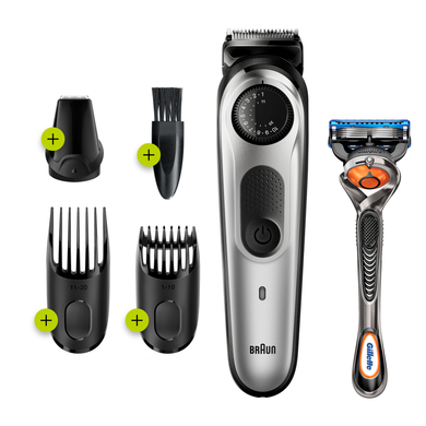 Braun Beard Trimmer BT5260, Cordless & Rechargeable Hair Clipper, Detail Trimmer with Gillette ProGlide Razor, Black/Silver Meta