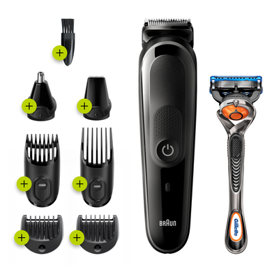 All-in-one trimmer MGK5260, 8-in-1 trimmer, Beard, Body & hair clipper 6 attachments and Gillette Fusion5 ProGlide razor.