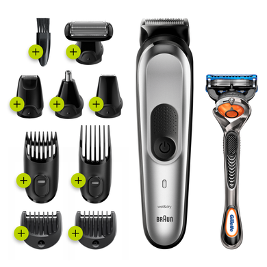 All-in-one trimmer MGK7221, 10-in-1 trimmer, Beard, Body and Hair clipper – 8 attachments and Gillette Fusion5 ProGlide razor.