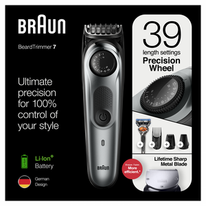 Braun Beard Trimmer BT7240, Cordless & Rechargeable Hair Clipper, Detail Trimmer, Mini Foil Shaver with Gillette ProGlide Razor, Black/Silver Metal