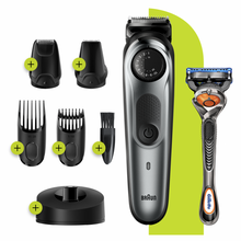 Load image into Gallery viewer, Braun Beard Trimmer BT7240, Cordless & Rechargeable Hair Clipper, Detail Trimmer, Mini Foil Shaver with Gillette ProGlide Razor, Black/Silver Metal
