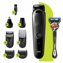 Load image into Gallery viewer, All-in-one trimmer MGK5260, 8-in-1 trimmer, Beard, Body & hair clipper 6 attachments and Gillette Fusion5 ProGlide razor.