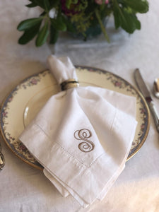 Monogrammed Hemstitched Linen Napkins - Set of 4