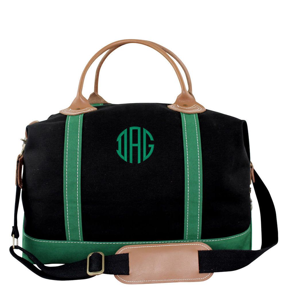 Canvas Weekender Travel Bag - Black and Emerald