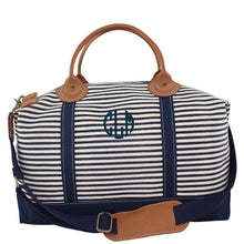 Load image into Gallery viewer, Canvas Weekender Travel Bag - Navy and White Stripes