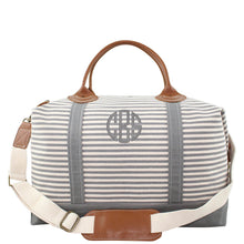 Load image into Gallery viewer, Canvas Weekender Travel Bag - Grey Stripes