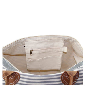 Canvas Weekender Travel Bag - Grey Stripes