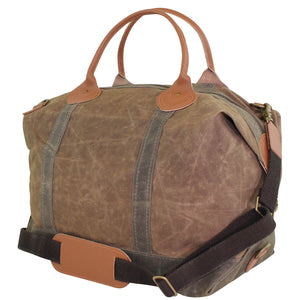 Waxed Canvas Weekender Travel Bag - Khaki and Olive