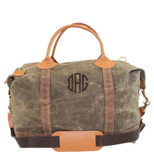 Load image into Gallery viewer, Waxed Canvas Weekender Travel Bag - Khaki and Olive
