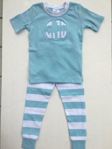 Monogrammed Blue and White Striped Pajama's
