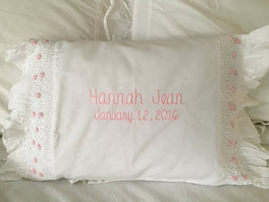 Smocked Monogrammed Pillow Pink