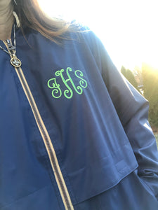 Monogrammed Navy Raincoat