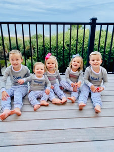 Monogrammed Grey Narrow Stripe Pajamas