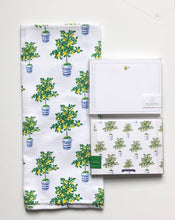 Load image into Gallery viewer, Chinoiserie Lemon Tree Towel and Notecard Set