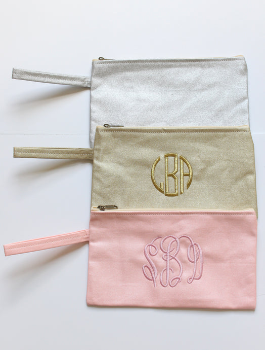 Monogrammed metallic clutch