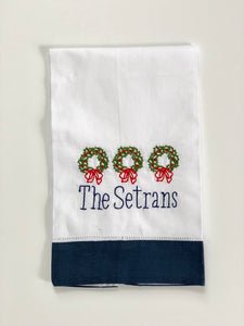 Personalized Holiday Linen Guest Towel
