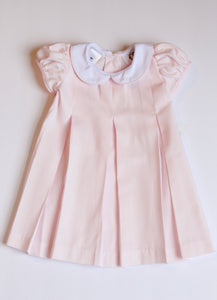 Monogrammed Pink Pleated Dress