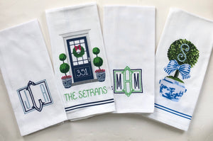 Monogrammed Chinoiserie Topiary Tea Towel