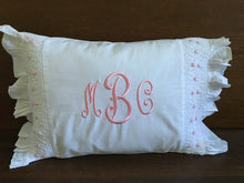Load image into Gallery viewer, Smocked Monogrammed Pillow Pink