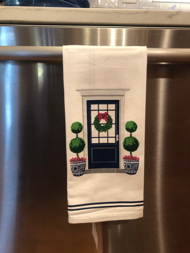 Chinoiserie Tea Towel- Navy Front Door