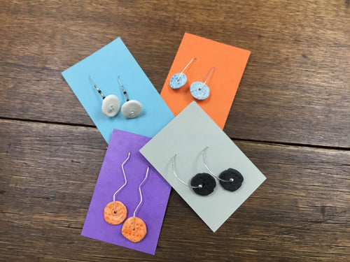 Bespoke Stirling silver and ceramic earrings