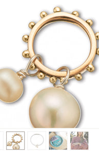 Palas Slv + Brz + Pearl Double Pearl Charm on Ring