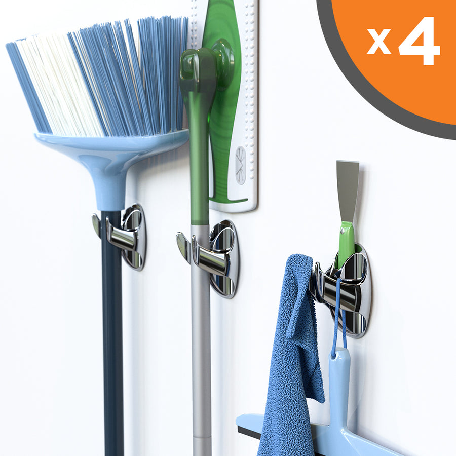 NEATERLY - Heavy Duty Adhesive Mop and Broom Organizer with All in One Clamp, Double Hook, Holder, and Bubble Level