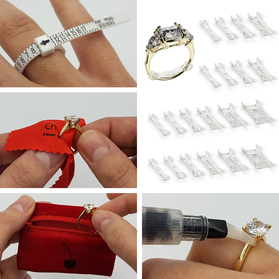Invisible Clip-On Ring Size Adjusters (Set of 20) + Jewelry Care Kit