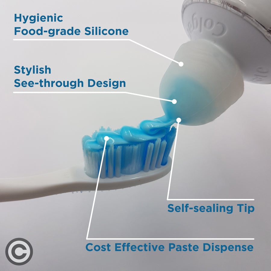 SqueezMe 3 Pack Self-Closing Toothpaste Caps for Bathroom Hygiene No Mess or Waste for Kids and Adults